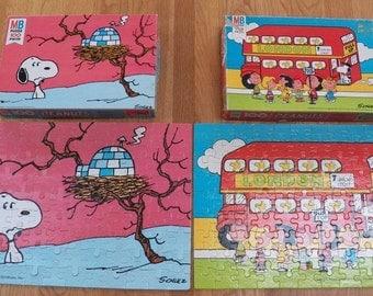 Lot of 2 Vintage PEANUTS Snoopy/Woodstock MB Milton Bradley 1978 Puzzles~100 Pc
