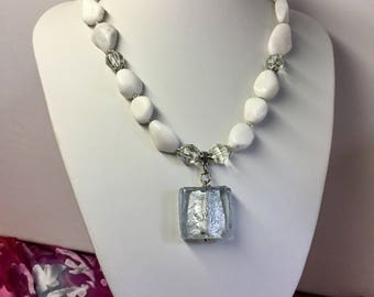 Snow Quartz Gemstone Necklace.