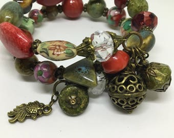 Bold Ceramic ,Antique , Bronze Cuff Bracelet.