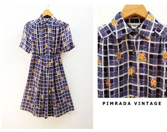Nice 1940s Japanese Vintage Blue White Check Short Sleeves Shirt Day Career Work Dress  Excellent Condition