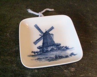 Vintage Ceramic Royal Copenhagen Kai Lange Denmark Blue Trinket Dish Windmill Small