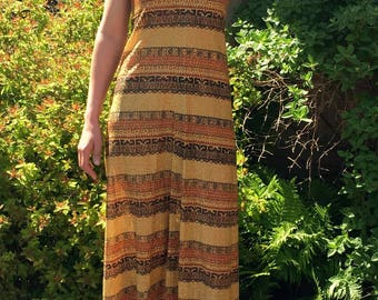 Vintage Gold, Bronze, Copper Sleeveless Floor Length Dress Gown