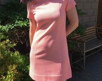 Vintage 1960's Orange Sherbet Short Poly Dress, Short Sleeve