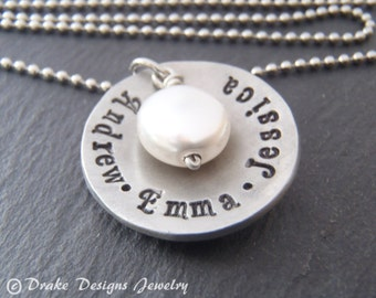 custom name necklace for mom personalized with kids names
