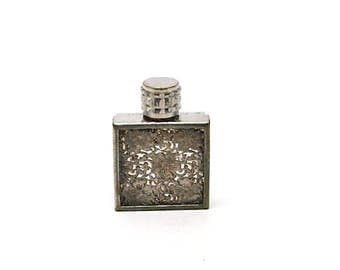 Antique Miniature French Perfume Bottle with Silver Filigree, Overlay, Floral Filigree, 1920-40