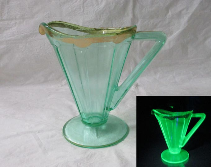 Diamond VICTORY Creamer, Green Depression Glass, Gold Trim, Uranium Glow c. 1930