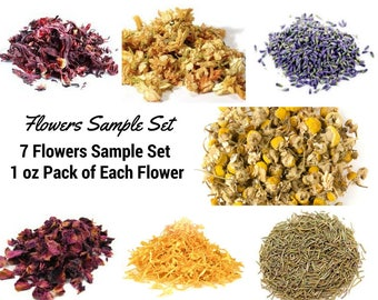 7 Dried Flowers Sample Set, Dried Rose Petals, Dried Lavender, Dried Herbs, Dried Calendula, Dried Jasmine, Dried Rosemary, Dried Hibiscus