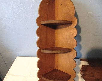 Wood Wall Corner Knick-Knack Shelf
