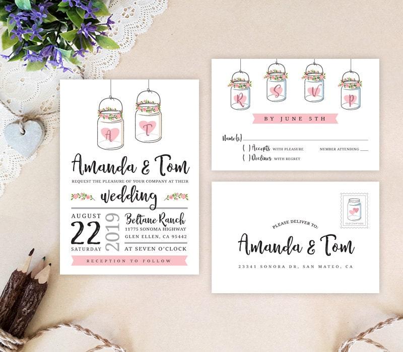 Cheap Printed Wedding Invitations: Mason Jar Wedding Invitations Printed Rustic Wedding