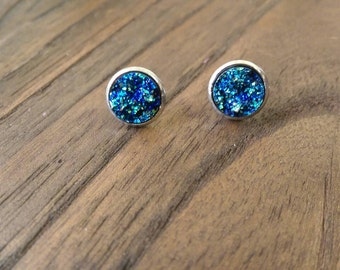 Sparkly Faux Blue Gold Galaxy Druzy Stud Earrings made of Stainless Steel 12mm
