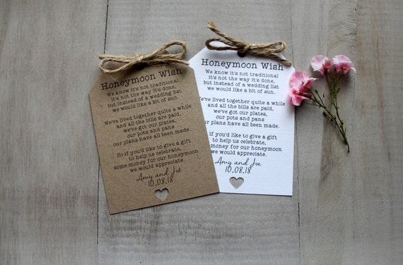 Wedding Gift Request Poem : 10 Personalised Wedding Honeymoon Request Poem Cards Gift Money Tags