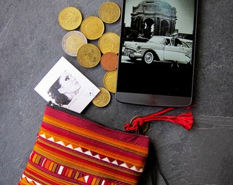 Origami pouch hand made by Hmong people: 100 % cottons, satin thread,  100 cotton, satin thread, red, Bordeaux, yellow-orange, white