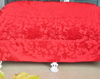 Red Jacquard Tablecloth - Cotton, Entertain/Everyday - Vintage - Stunning!