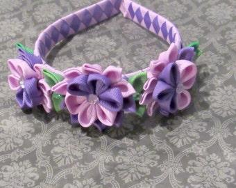 Purple Kanzashi Flower Headband