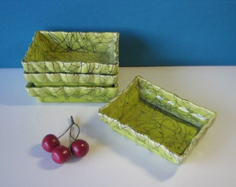 Mid Century Appetizer Dishes - Le Ann California - Spaghetti String - Lime Green  Vintage 1960's