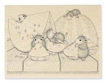 New Release Stampendous House Mouse Summer Snacking Wood Mounted Rubber Stamp