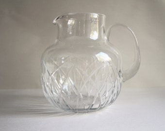 Vintage Beautiful Cut Glass Pitcher With Bulbous Bottom