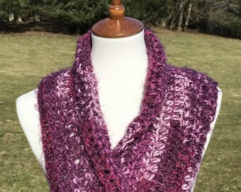 Cowl, Circle Scarf, Infinity Cowl, Twisted Cowl, Twisted Infinity Cowl, Gift for her, Fashion Cowl, Loop Cowl, Elegant Scarf, Purple & White