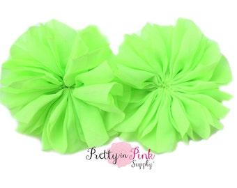 Neon Green Large Double Ruffle Flowers...Chiffon Flower...Chiffon Ruffle Flowers...DIY Headbands...Wholesale