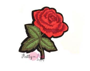 Red Rose Iron On Patch Embellishment - Applique- Embellishment- DIY Headband Supply- Rose applique - Rose patch - Embroidered Patches
