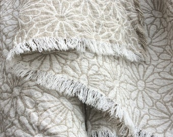 Linen throw blanket with daisies, natural taupe gray white floral bedspread, patterned reversible pure flax beach blanket