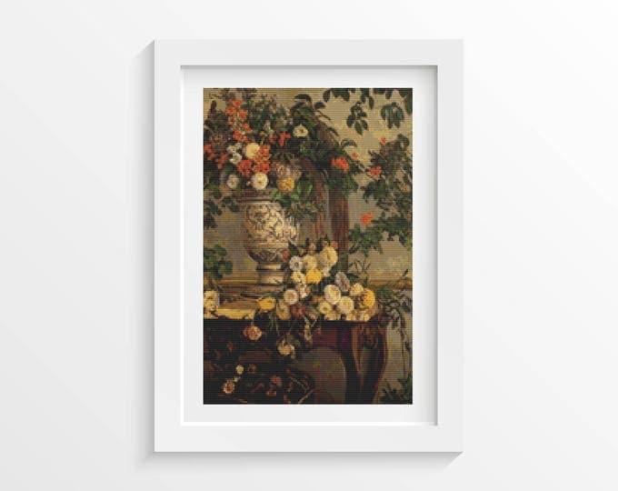 Cross Stitch Pattern PDF, Embroidery Chart, Art Cross Stitch, Floral Cross Stitch, Flowers by Frederic Bazille (BAZIL01)