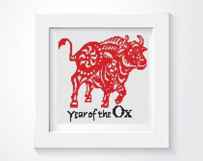 Mini Cross Stitch Kit, Embroidery Kit, Art Cross Stitch, Year of the Ox (TAS114)