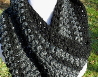 Large Chunky Crochet Cowl - black, grey, charcoal, metallic silver