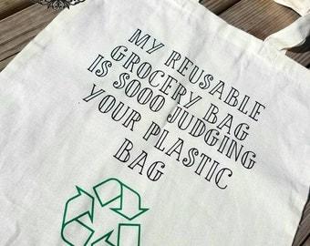 Funny reusable tote bag |  bag | Reusable grocery bag | Grocery bag | Tote bag