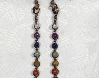 Chakra Earrings, copper, wire wrapped