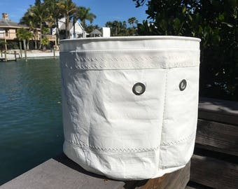 XLG Sail Storage tote Recycled Sail Cloth Bucket Bag, one-of-a-kind