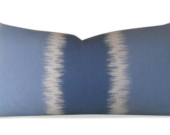 Ikat Pillow Cover -Thom Filicia, Gere in River  - SAME Fabric BOTH Sides - Invisible Zipper - 18x18, 20x20, 22x22 and lumbar sizes