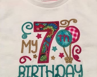 My 7th Birthday Embroidered T-shirt