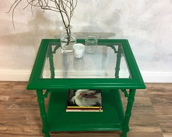 Green Cane Glass Top Side/Coffee Table