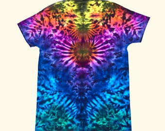 Medium Tie Dye Shirt- Psychedelic Rainbow Totem
