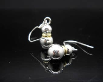 Sterling Silver Stacked Ball Earrings Dangle God Over Silver Spacer 925 Jewelry