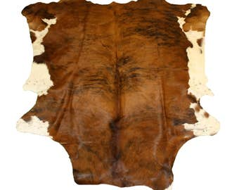 Glacier Wear Cow Hide Leather Hair-On Rug #005