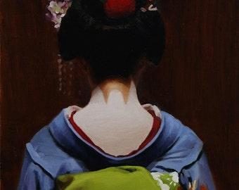 "The Scarlet Fringe (Komako) - signed 8"" x 10"" print - japanese geisha art asian maiko artwork"