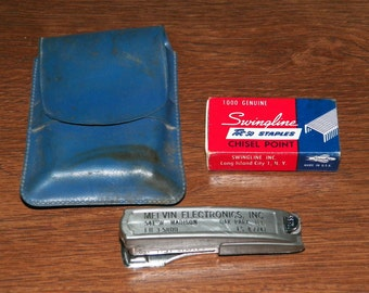 Vintage Swingline Tot 50 Mini Stapler with Box of Staples and Case