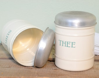 Dutch cream enamelware kitchen cannisters with mint writing easter spring decor wedding gift  housewarming gift