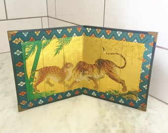 Japanese Screen, Miniature Folding Screen, Gold Blue Asian Decor, Japanese Decor, Asian Tiger Art