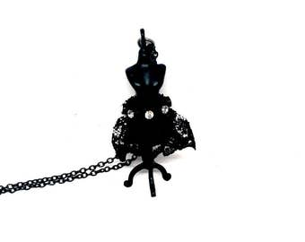 Matilda Dress Form Necklace Black Victorian Handmade Gift