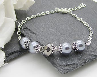 Silver Grey Bridesmaid Jewellery, Pewter Pearl Bridesmaid Bracelets, Dark Grey Wedding Sets, Bridal Party Gifts, Pewter Grey Wedding