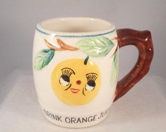 Vintage Children's Juice Mug - Drink Orange Juice - Made in Japan