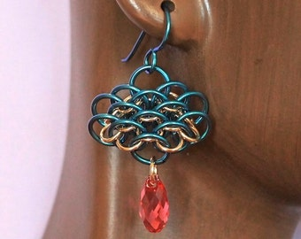 Teal Niobium and Yellow Gold Fill Chainmaille Dragonscale Earrings with Swarovski Indian Pink Briolette Dangles