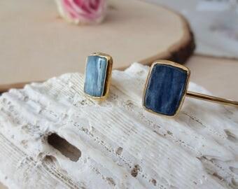 Kyanite bracelet, blue kyanite bracelet, polished kyanite bangle, blue kyanite bangle, kyanite gold bangle