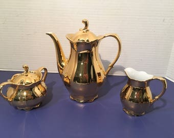 Vintage Bavarian Teapot/Coffee Set 1928 Gold 24K by Rudolf Wachter Signed Collectable