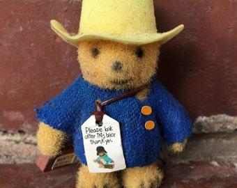 Wee Flocked Paddington Bear. Vintage Flocked. Miniature. If Lost, Please . . .