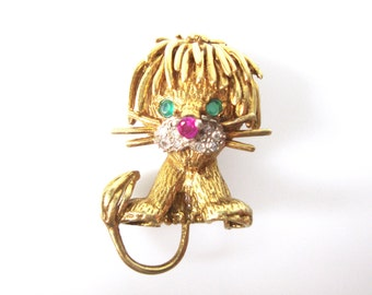 18K Gold Lion Brooch With Diamonds, Emeralds and Ruby