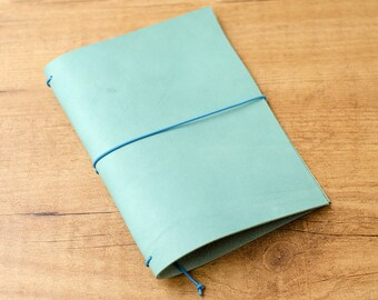 Handmade Leather Traveler's Notebook, Midori style in Passport / Pocket / A6 size - Worn Turquoise